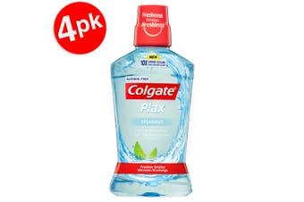 4x Colgate 500ml Plax Spearmint Mouthwash Alcohol Free Mouth Wash Oral Care