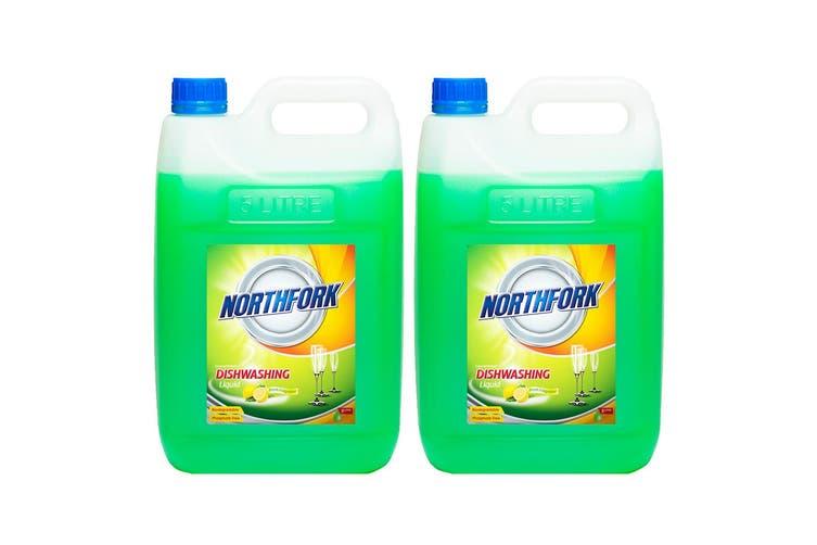 2x Northfork 5L Biodegradeable Dishwashing Dishes Concentrated Liquid/Soap Lemon