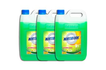 3x Northfork 5L Biodegradeable Dishwashing Dishes Concentrated Liquid/Soap Lemon