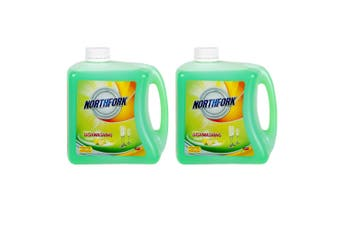 2x Northfork 2L Biodegradeable Dishwashing Dishes Concentrated Liquid/Soap Lemon