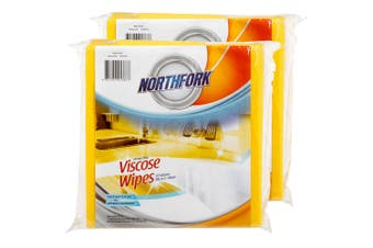 20PK Northfork Heavy Duty Absorbent Viscose Cleaning Wipes/Cloth 40x38cm Yellow