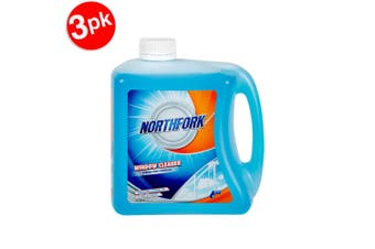 3x Northfork 2L Glass/Window Cleaning Liquid for Home Mirror/Car Windscreen