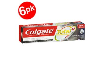 6x Colgate Total 115g Whole Mouth Health 12hr Charcoal Deep Clean Toothpaste