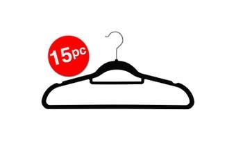 15PK Box Sweden Velvet Hanger/Storage Wardrobe Organiser for Clothes/Shirt Black