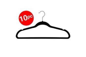 10PK Box Sweden Velvet Hanger/Wardrobe/Storage Organiser for Clothes/Shirt Black