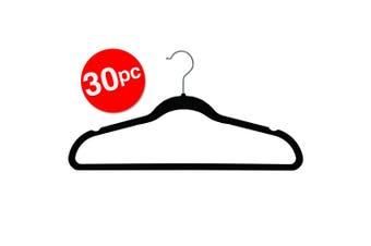 30PK Box Sweden Velvet Hanger/Wardrobe/Storage Organiser for Clothes/Shirt Black