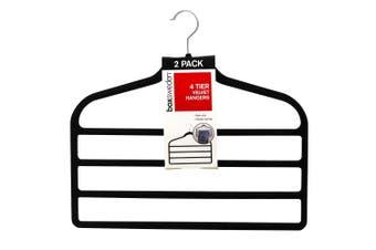 2pc BoxSweden 4 Tier Velvet Space Saving Clothes Hanger Hook Trouser Skirt Pants