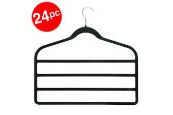 24pc BoxSweden 4 Tier Velvet Space Saving Clothes Hanger Hook Trouser Skirt Pant