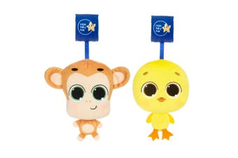 2pc Little Tikes Musical Minis Baby Toy for Stroller Mac the Monkey/Dylan Duck