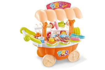 Kids Toy 27pc 33cm Rotating/Roasting BBQ Trolley w/Veggie/Fish/Meat/Light/Sound