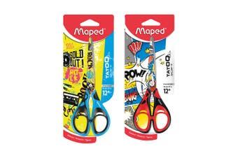 2PK Maped Tatoo Soft Kids 16cm Stainless Steel Scissor 12y+ Blue & Red Set