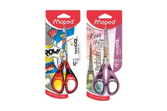 2PK Maped Tatoo Soft Kids 16cm Stainless Steel Scissor 12y+ Red & Purple Set