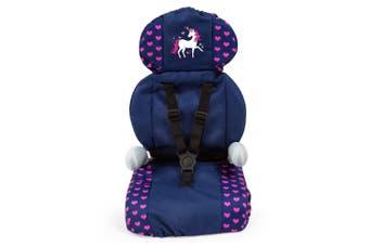 Bayer Delux Car Seat for 46cm Dolls Kids 3y+ Toy Unicorn Dark Blue/Pink Hearts