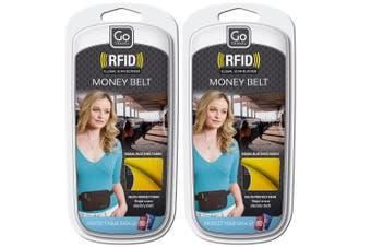 2x Go Travel RFID Protection Lightweight Money Belt Waist Belt Pouch Wallet