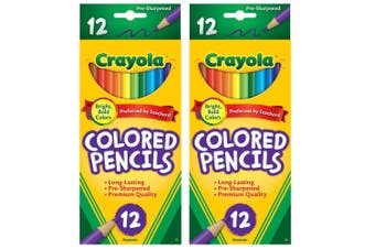 2x 12PK Crayola Full Sized Coloured Pencils Drawing Colouring Art/Craft Kids 3y+