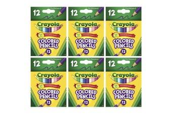 6x 12PK Crayola 3.3mm Half Size Art Coloured Pencils Draw/Colouring Kids 3y+