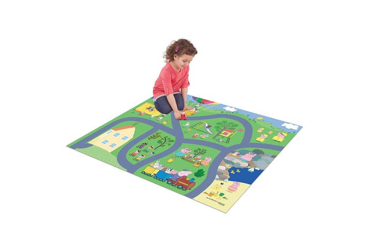 2PK Peppa Pig Foam Megamat/Playmats/Playset 61x47in w/Asstorted Vehicle Kids 3y+