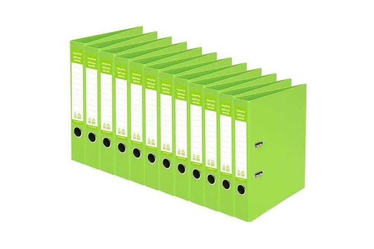 12PK ColourHide A4 50mm 250 Sheets Half Lever Arch Binder Office Organiser GRN