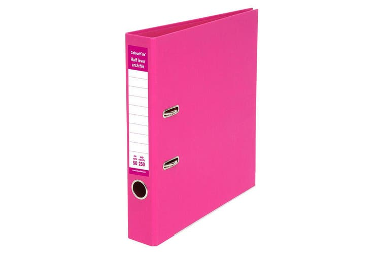 ColourHide A4 50mm 250 Sheets Half Lever Arch File/Paper Office Organiser Pink