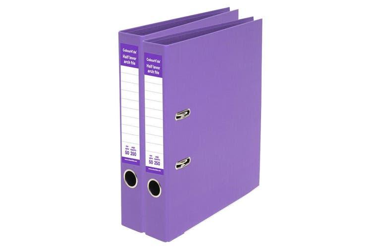 2PK ColourHide A4 250 Sheets Half Lever Arch File/Office Organiser/Binder Purple