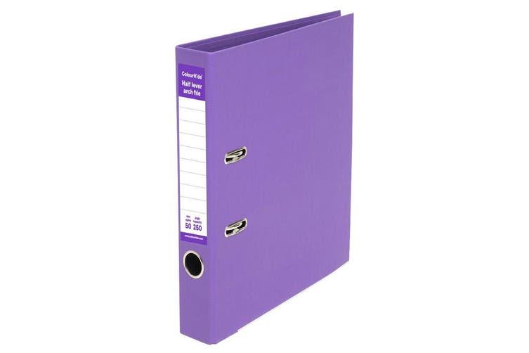 8PK ColourHide A4 250 Sheets Half Lever Arch File/Office Organiser/Binder Purple