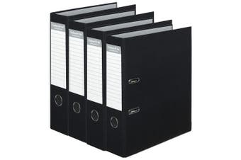 4PK Colour Hide A4 75mm 375 Sheets Lever Arch Binder File Organiser Office Black