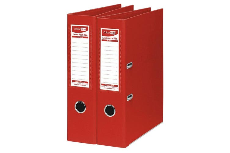 2PK ColourHide A4 375 Sheets Lever Arch File Folder/Binder Office Organiser Red