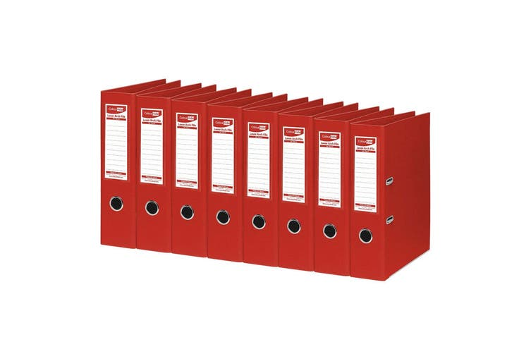 8PK ColourHide A4 375 Sheets Lever Arch File Folder/Binder Paper Organiser Red