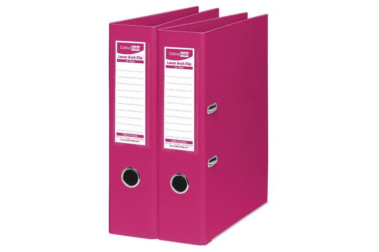 2PK ColourHide A4 375 Sheets Lever Arch File Folder/Binder Office Organiser Pink