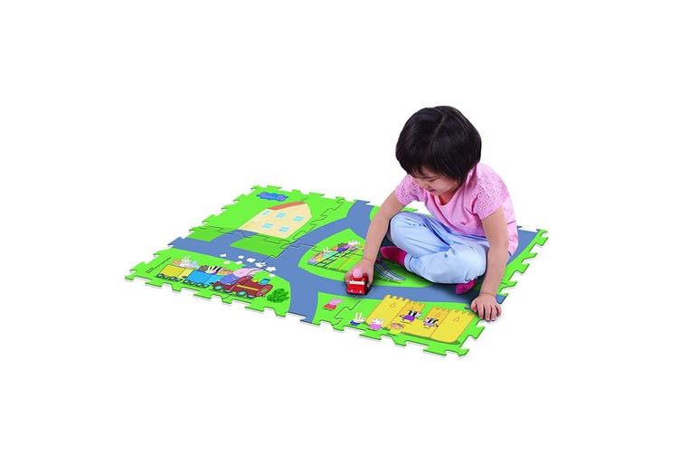 """Peppa Pig 28"""" x 19"""" Megamat Playmat/Playset w/ 1 Assorted Vehicle Kids 3y+ Toy"""