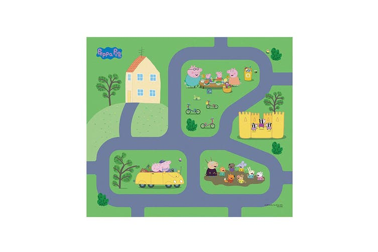 "Peppa Pig 31.5"" x 27.5"" Megamat Playmat Kids Toys 3y+ w/ Assorted Vehicle Car"