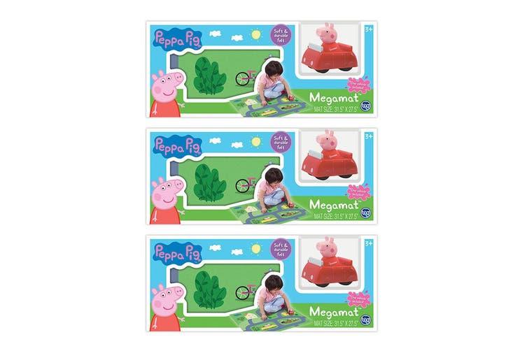 "3x Peppa Pig 31.5"" x 27.5"" Megamat Playmat Kids Toys 3y+ w/ Assorted Vehicle Car"