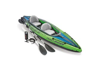Intex Sports Challenger K2 Inflatable Kayak 2 Seat Floating Boat Oars River/Lake