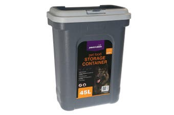 Paws & Claws 55cm 45L Pets/Dogs/Puppy Food Storage/Storer Container w/ Scoop GRY