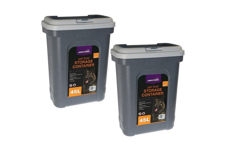 2PK Paws & Claws 55cm 45L Pets/Dogs/Puppy Food Storage Container w/ Scoop Grey