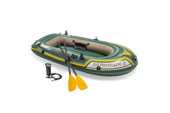 Intex 236cm Seahawk 2 Inflatable/Floating Sports Boat w/ Oars/Hand Pump Green