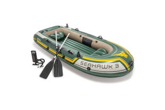Intex 295cm Seahawk 3 Inflatable/Floating Sports Boat w/ Oars/Hand Pump Green
