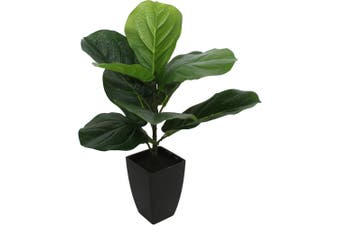 Potted Artificial Baby 46cm Fiddle Leaf Fig Plastic Plant Home Room Decor Green