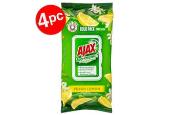 4PK 110pc Ajax Eco-Respect Multipurpose Cleaning Wipes/Towelettes Fresh Lemon