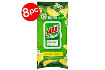 8PK 110pc Ajax Eco-Respect Multipurpose Cleaning Wipes/Towelettes Fresh Lemon