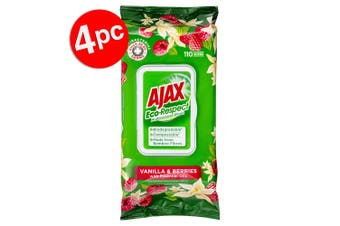 4x 110pc Ajax Eco Respect Multipurpose Cleaning Wipes Towelettes Vanilla/Berries