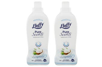 Fluffy 2L Fabric Softener Hypoallergenic Concentrated 80 Washes Creamy Coconut
