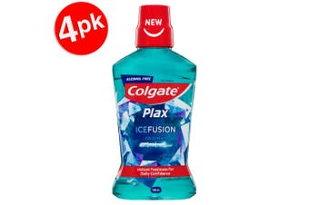 4x Colgate 500ml Plax IceFusion Cold Mint Mouthwash Alcohol Free Oral Care