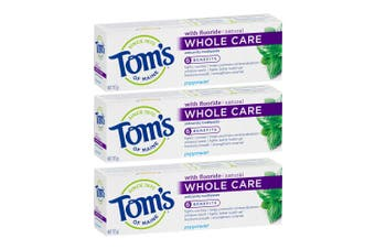 3x Tom's Of Maine 113g Fluoride Whole Care Fresh Breath Toothpaste Peppermint