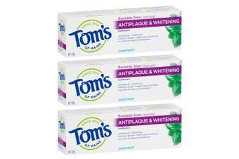 3x Tom's Of Maine 113g Fluoride Free Antiplaque/Whitening Toothpaste Peppermint