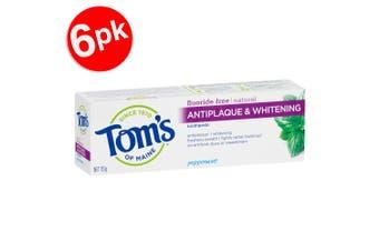 6x Tom's Of Maine 113g Fluoride Free Antiplaque/Whitening Toothpaste Peppermint