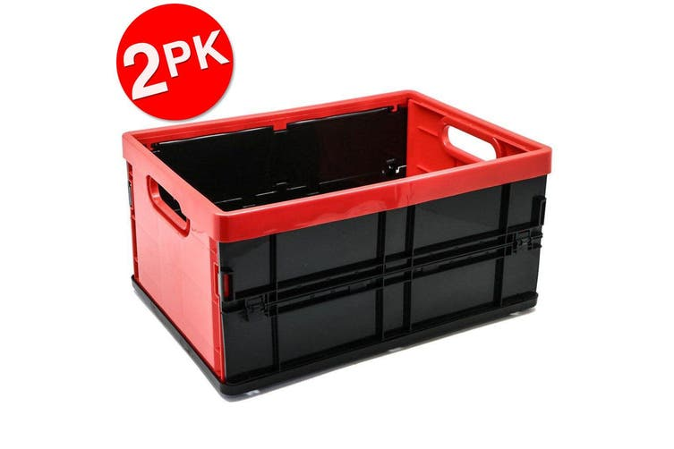 2PK Box Sweden 20L Collapsible Crate Storage Organiser Container Box Assorted