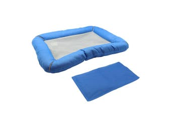 Paws & Claws 60x45cm Pets/Dogs/Cats Bed w/ Non-Toxic Cooling Gel Mat Insert Blue