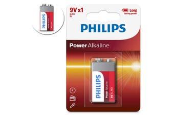 1PK Philips Alkaline Single Use Battery 9V Block 6LR61 Long Lasting Batteries