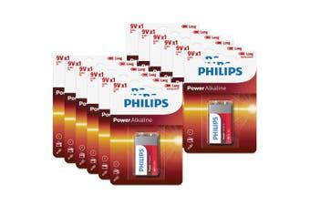 12PK Philips Alkaline Single Use Battery 9V Block 6LR61 Long Lasting Batteries